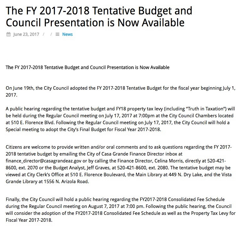 City budget, fees hearings scheduled